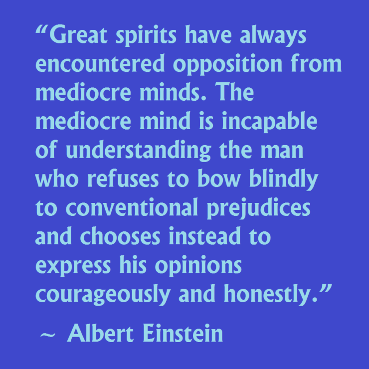 Great spirits have always encountered opposition from mediocre minds. Albert Einstein