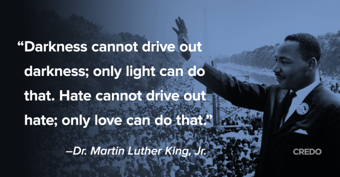 Martin Luther King - Hate cannot drive out Hate, only Love can do that.